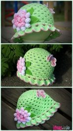 crochet-baby-hats-crochet-shell-stitch-spring-summer-hat-free-148x264