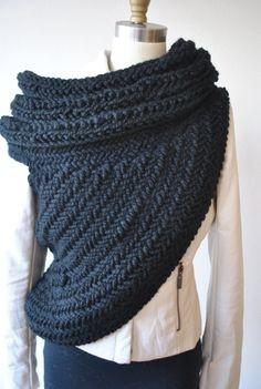 Women-Cable-Knitted-Sweater-Cowl-Vest-1